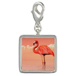 Pink flamingo in the water - 3D render Charm
