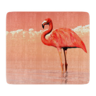 Pink flamingo in the water - 3D render Cutting Board