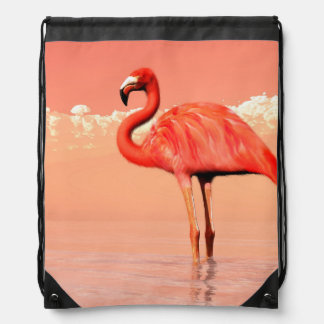 Pink flamingo in the water - 3D render Drawstring Bag