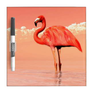 Pink flamingo in the water - 3D render Dry Erase Board