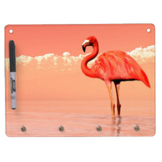 Pink flamingo in the water - 3D render Dry Erase Board With Keychain Holder