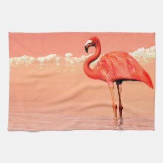 Pink flamingo in the water - 3D render Kitchen Towel