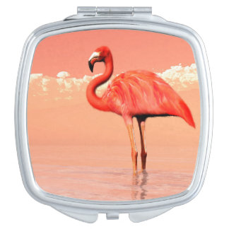Pink flamingo in the water - 3D render Mirror For Makeup