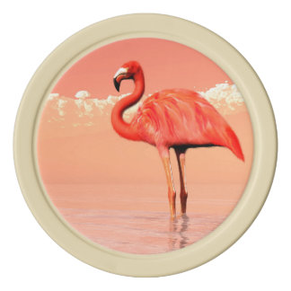 Pink flamingo in the water - 3D render Poker Chips