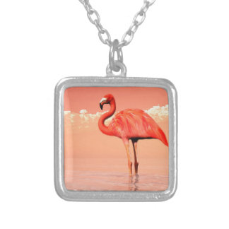 Pink flamingo in the water - 3D render Silver Plated Necklace
