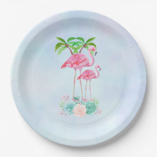 Pink Flamingo Momma & Baby Paper Plate