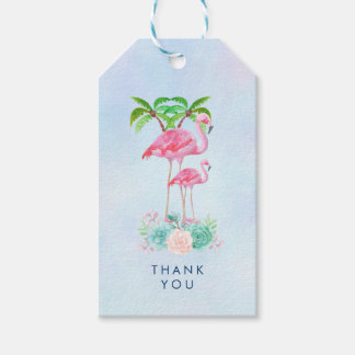 Pink Flamingo Momma & Baby Thank You Gift Tags