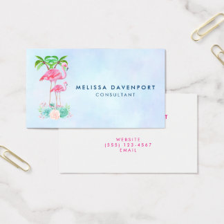 Pink Flamingo Momma & Baby with Palm Trees Business Card