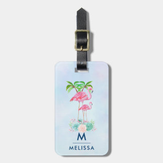 Pink Flamingo Momma & Baby with Palm Trees Custom Luggage Tag
