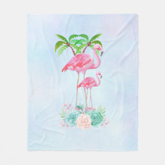 Pink Flamingo Momma & Baby with Palm Trees Fleece Blanket