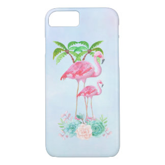 Pink Flamingo Momma & Baby with Palm Trees iPhone 8/7 Case