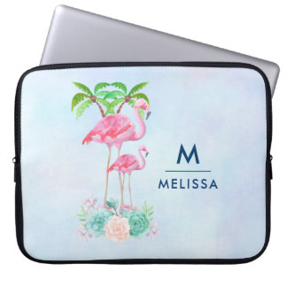 Pink Flamingo Momma & Baby with Palm Trees Laptop Sleeve