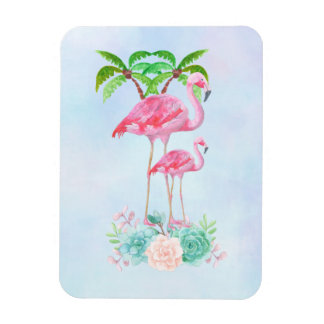 Pink Flamingo Momma & Baby with Palm Trees Magnet