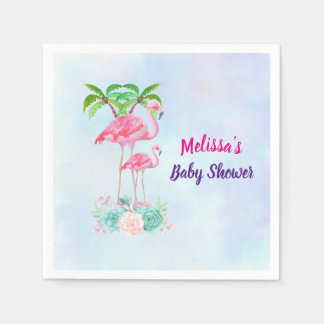 Pink Flamingo Momma & Baby with Palm Trees Paper Napkin
