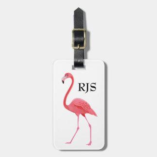 Pink Flamingo Monogram Personalize Luggage Tag