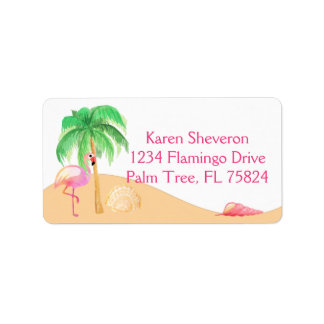 Pink Flamingo on a Beach Address Labels