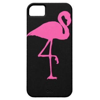 Pink Flamingo on Black Background iPhone 5 Case