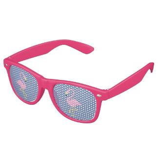 Pink Flamingo on Blue Background Retro Sunglasses
