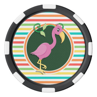 Pink Flamingo on Bright Rainbow Stripes Poker Chips