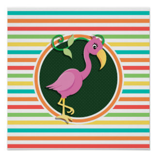 Pink Flamingo on Bright Rainbow Stripes Print