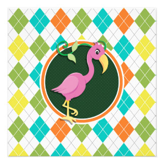 Pink Flamingo on Colorful Argyle Pattern Announcements
