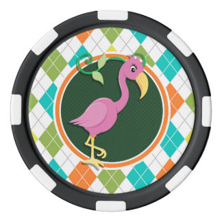 Pink Flamingo on Colorful Argyle Pattern Poker Chips