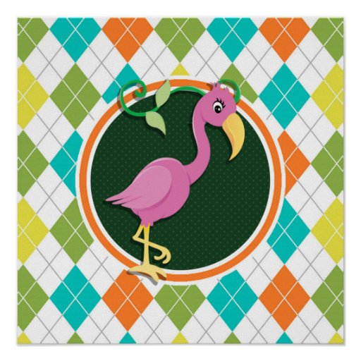 Pink Flamingo on Colorful Argyle Pattern Poster
