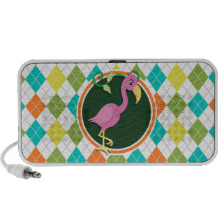 Pink Flamingo on Colorful Argyle Pattern Mp3 Speaker
