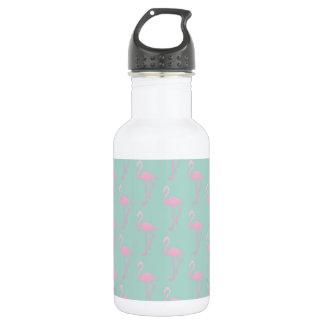 Pink Flamingo on Teal Seamless Pattern 532 Ml Water Bottle