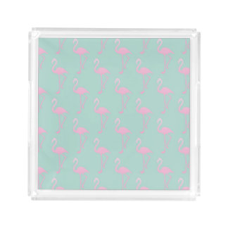 Pink Flamingo on Teal Seamless Pattern Acrylic Tray