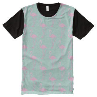 Pink Flamingo on Teal Seamless Pattern All-Over-Print T-Shirt