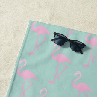 Pink Flamingo on Teal Seamless Pattern Beach Towel