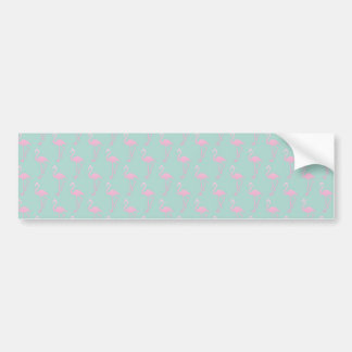 Pink Flamingo on Teal Seamless Pattern Bumper Sticker