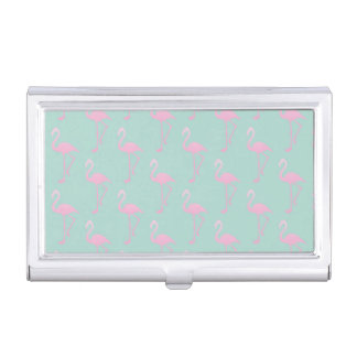 Pink Flamingo on Teal Seamless Pattern Business Card Holder