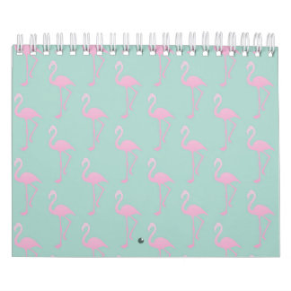 Pink Flamingo on Teal Seamless Pattern Calendar