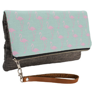 Pink Flamingo on Teal Seamless Pattern Clutch