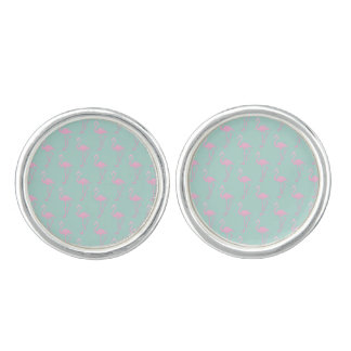 Pink Flamingo on Teal Seamless Pattern Cuff Links