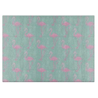Pink Flamingo on Teal Seamless Pattern Cutting Board