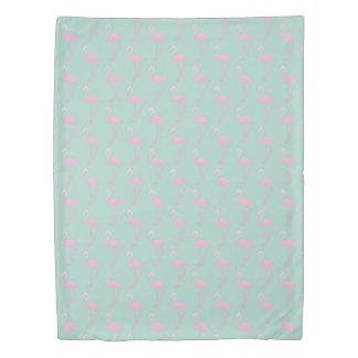 Pink Flamingo on Teal Seamless Pattern Duvet Cover