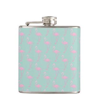 Pink Flamingo on Teal Seamless Pattern Hip Flask