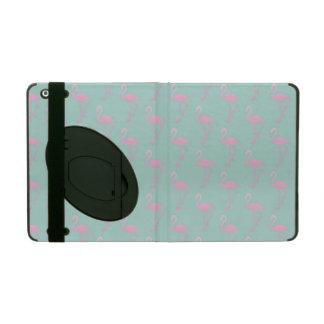 Pink Flamingo on Teal Seamless Pattern iPad Folio Case