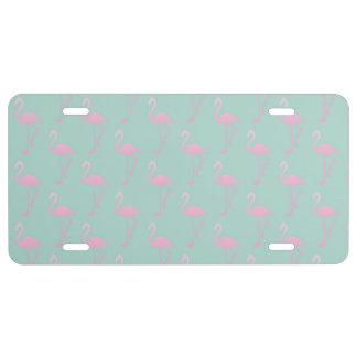 Pink Flamingo on Teal Seamless Pattern License Plate