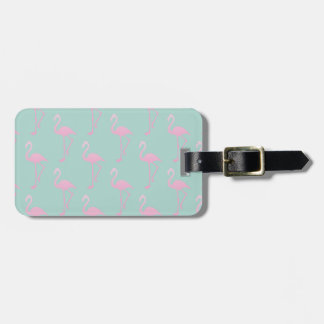 Pink Flamingo on Teal Seamless Pattern Luggage Tag