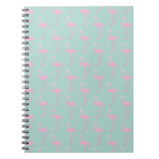 Pink Flamingo on Teal Seamless Pattern Notebook
