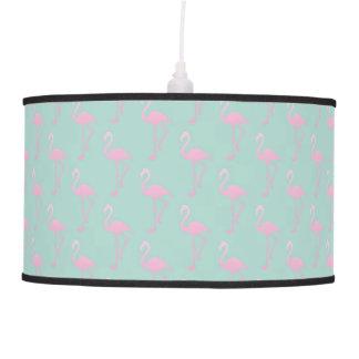 Pink Flamingo on Teal Seamless Pattern Pendant Lamp