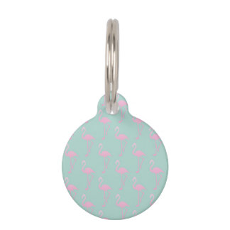 Pink Flamingo on Teal Seamless Pattern Pet Tag