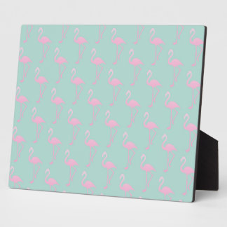 Pink Flamingo on Teal Seamless Pattern Plaque