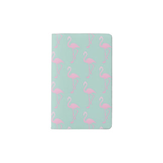 Pink Flamingo on Teal Seamless Pattern Pocket Moleskine Notebook