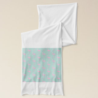 Pink Flamingo on Teal Seamless Pattern Scarf