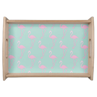 Pink Flamingo on Teal Seamless Pattern Serving Tray